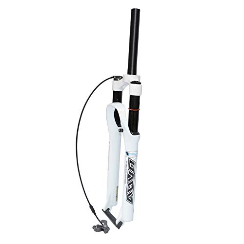 VXXV MTB Bike Remote Lockout Suspension Fork 26' 27.5' 29', Travel: 120mm Magnesium Alloy Suitable for 160mm Disc (Color : White, Size : 26 inches)