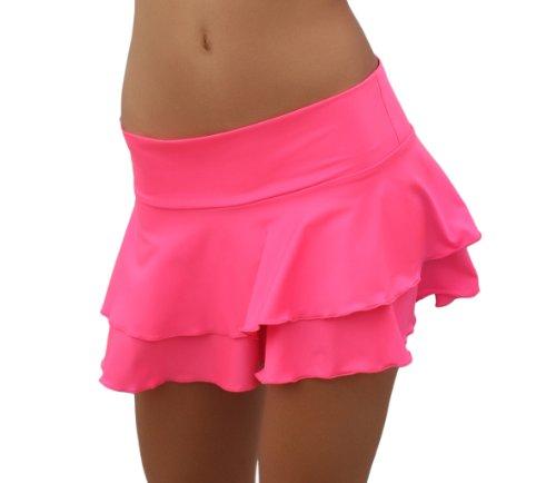 Tanz Salsa Sexy Strand 2 Stufen Minirock Pink L/XL