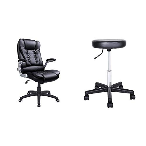SONGMICS Racing Stuhl Bürostuhl Gaming Stuhl Chefsessel Drehstuhl PU, schwarz, OBG51B & Drehhocker auf Rollen, höhenverstellbarer Rollhocker, 46-58 cm, mit Kunstleder bezogener Sitz, schwarz, LJB61B