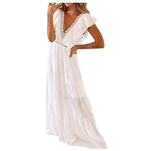 ASDVB Damenmode V-Ausschnitt Kurzarm Hohe Taille Rüschen bodenlangen Maxikleid Hohle Spitze Abendkleider Freizeitkleid
