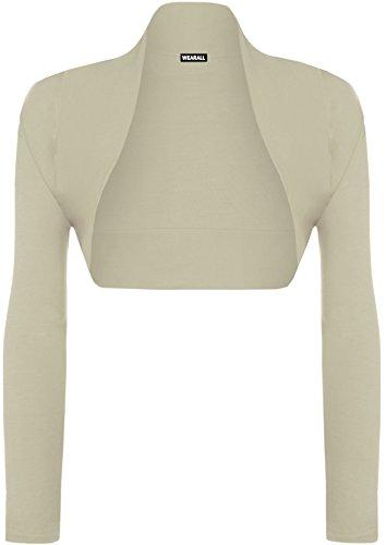 WearAll Ladies Long Sleeve Shrug Womens Bolero Cardigan Top Stone 16-18