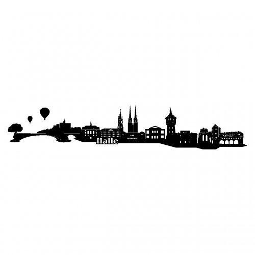 Skyline4u Halle Wandtattoo Stadt Collage Halle Wandsticker in 6 Größen und 19 Farben (140x26cm schwarz)
