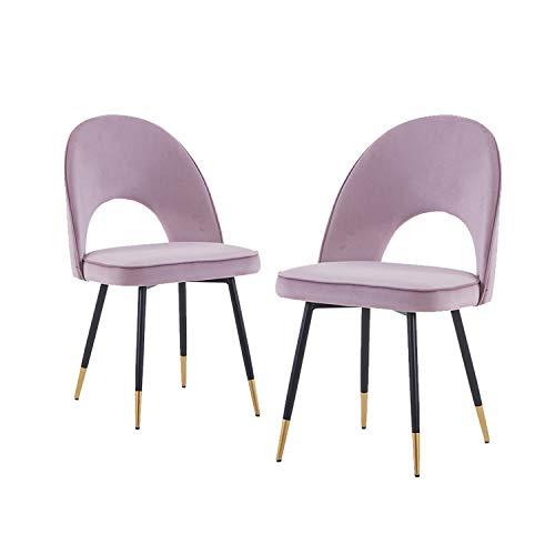 JYMTOM Esszimmerstühle Set mit 2 Samt-Stoff-Sitzen mit Metallbeinen, Rückenlehne, Lounge-Stuhl, 2 Stück, rosa