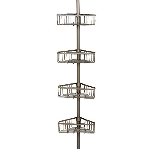 Zenna Home Rust-Resistant Tension Corner Pole Caddy, Satin Nickel