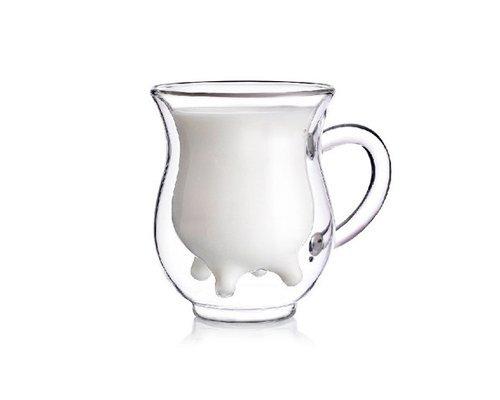 DSstyles Vaso de Leche de Pared Doble, Creativo Hermoso Regalos Taza de Cristal De Doble Capa Taza 3D - Lindo Vaca de Becerro en Forma de Ubre en Forma De Jarra Botella de Leche