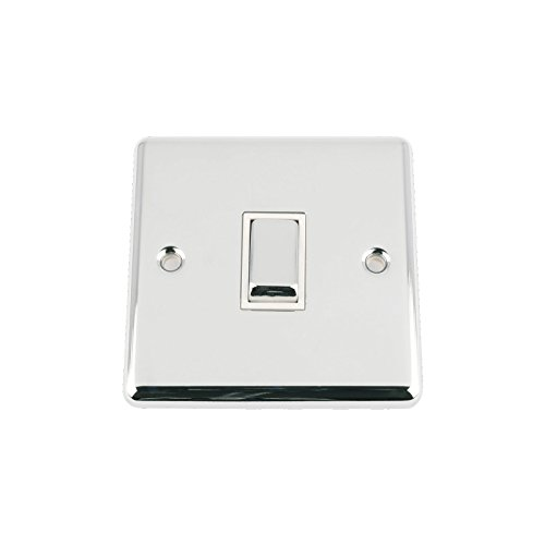 A5 Light Switch Single 1 Gang Polished Chrome Classic - White Insert - Metal Rocker Switches - 10A 1 Gang 2 Way