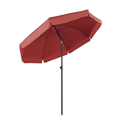 Sekey® Sonnenschirm 240 cm Marktschirm Gartenschirm Terrassenschirm Rot Rund Sonnenschutz UV25+