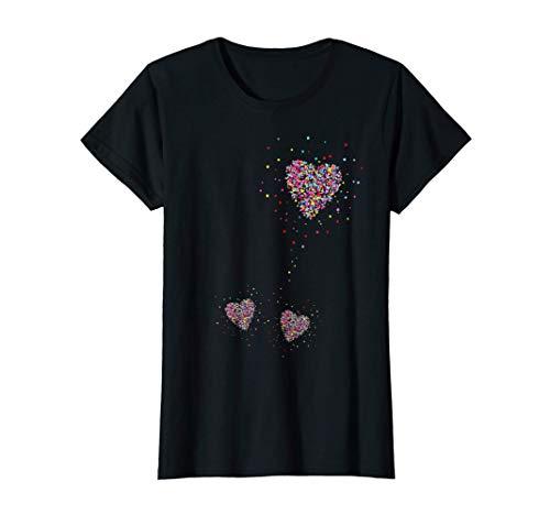Mujer Anuncio De Embarazo Madre Gemela Mamá Gemelos Corazón Camiseta