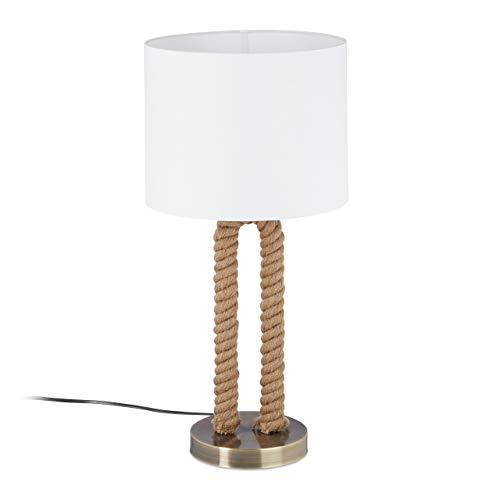 Relaxdays, wit/bruin tafellamp Tau, ronde lampenkap, maritieme touwlamp, E27, bedlampje, HxD: 52 x 25 cm