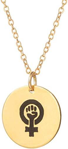 Liuqingzhou Co.,ltd Collar con Colgante de Feminismo Gargantilla de Monedas de Oro Collar joyería de Feminismo