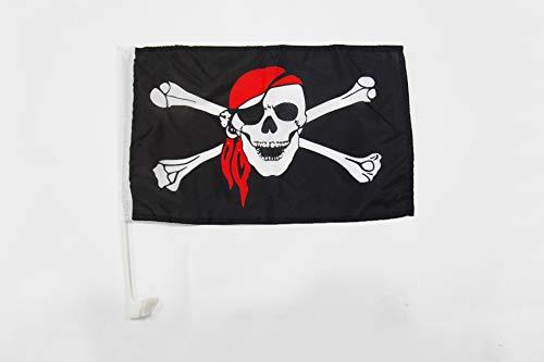 AZ FLAG AUTOFAHNE Pirat ROTES Kopftuch 45x30cm - Piraten Totenkopf AUTOFLAGGE 30 x 45 cm Auto flaggen