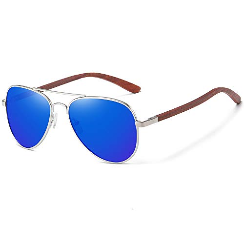 Gafas de sol de madera   polarizadas   caja de madera   para hombres y mujeres   al aire libre, color Azul, talla Talla única