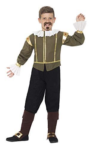 Smiffys 44077M - Kinder Jungen Shakespeare Kostüm, Alter 7-9 Jahre, grün