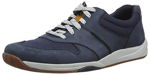 Clarks Herren Langton Race Sneaker, Navy Nubuck, 44 EU