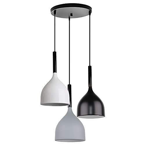 Lámparas Colgantes 3Luces LED Lamparas de Techo Modernas E27 Luz Colgante de 100cm Ajustable Pantallas Lamparas Ø17cm Blanco+Negro+Gris