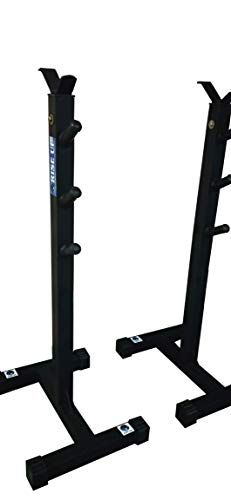 RISE UP Steel Fully Adjustable Biceps Squat Stand with Bench (Capacity Up to 200 Kg, Black)