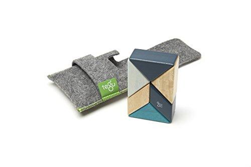 TEGU Pocket Pouch Prism Magnetic Wooden Block Set (Blues, 6-Piece)