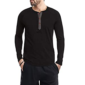 Men's Casual Front Placket Long Sleeve Henley T-Shirts Cotton Shirts