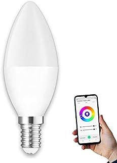Bombilla inteligente vela 5W, lámpara smart LED vela E17 RGB regulable compatible con Alexa y Google