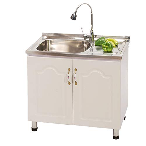 Household and commercial multifunctional sink cabinets, Stainless steel sink, workbench, public wash basin, Movable washing tank with hot and cold water taps, For kitchen bathroom