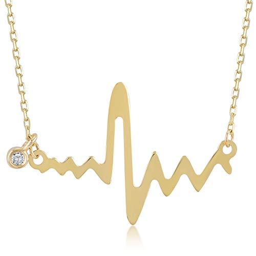 Damen Gold Halskette aus 14 Karat - 585 Echt Gelbgold mit Herzschlag Anhänger und Diamant (0.01ct) - Geschenk für Geburtstag Weihnachten - Kette 45 cm