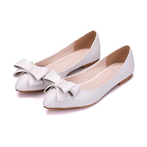 JingZhiBao Zapatos Boda Mujeres,Decoración De Lazo Zapatos Novia Planos Talla Grande,Zapatos Dama...