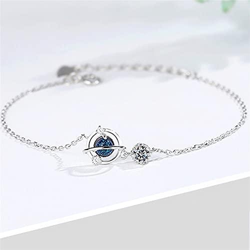 WWWL Pulsera, 925 Planeta de Cristal de Plata esterlina Pulsera del Encanto y Brazalete de la joyería de la Boda de Las Mujeres (Color : Silver)