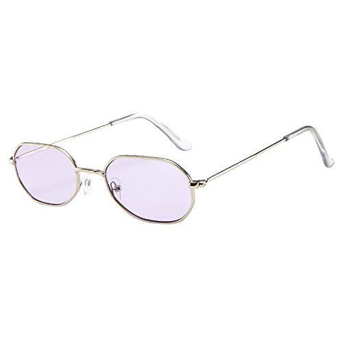 FIRSS Sonnenbrille Polarisierte Vintage Nerdbrille Metall Frame Brillen Unisex Sunglasses Extra Schmaler Rahmen Brillengläser Katzenaugen UV-Brille Bonbon-Farbbrillen