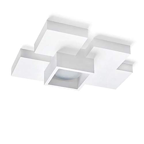Plafoniera di gesso per interni design moderna squadrata bianca per lampadina gx53 Led intercambiabile