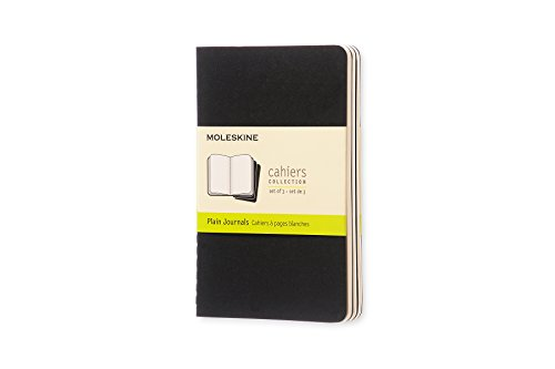 Moleskine Cahier Notizhefte (blanko, Pocket, Kartoneinband) 3-er-Set schwarz