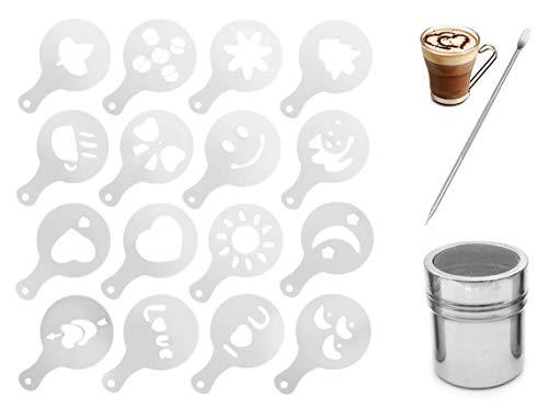 DMFSHI Kaffee Dekoration Schablonen, 16 PCS Kaffee Cappuccino Schablonen, Edelstahl Pulverstreuer und Art Stencils Pen, für Kuchen Kaffee Haferflocken Cappuccino Heiße Schokolade