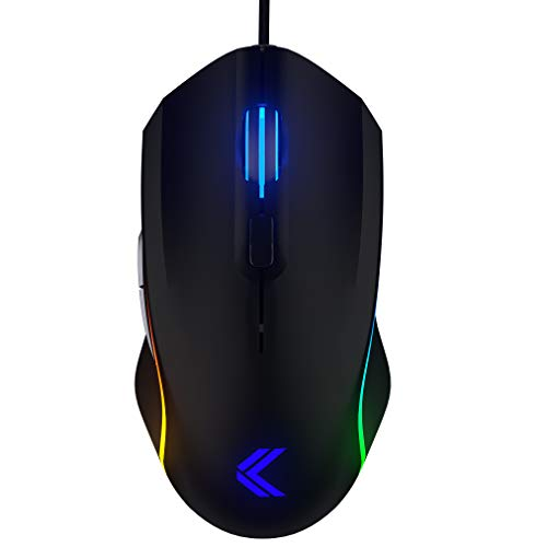 KINESIS Gaming Vektor RGB Mouse - Wired Adjustable to 5000 DPI - 6 Programmable Buttons - Dual-Zone RGB Lighting - Contoured Shape and Rubber Side Grips