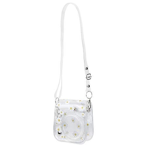 Dibiao PVC Camera Bag Small Case Daisy Transparente Durable Camera Bag with Shoulder Strap for Fujifilm Instax Mini 11 9 8 Cubierta de Lente Extraíble