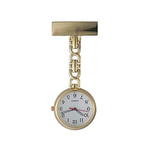 Ellemka JCM-2105 - Elegante Schwesternuhr Clip zum Anstecken FOB Kittel Krankenschwester Pflege-r Quarz Puls-Uhr Gewölbtes Glas Taschen Metall Ansteck-Nadel Trend Design - Farbe Gold