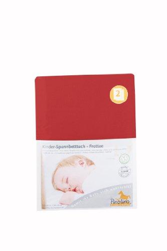 Pinolino Drap-Housse pour Lit de Bébé Tissu Eponge - Pack de 2 - Rouge
