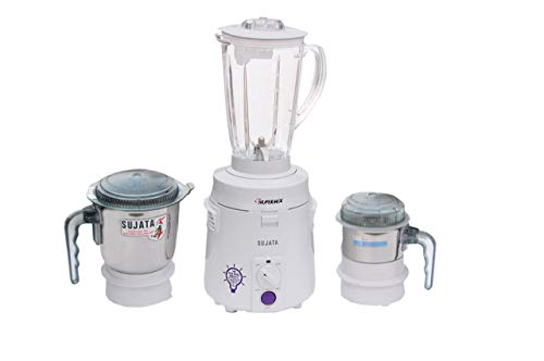 Sujata SuperMix SM 900-Watt Mixer Grinder with 3 Jars (White)