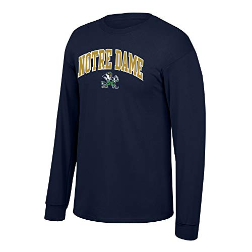 Elite Fan Shop NCAA Notre Dame Fighting Irish Male Team Color Arch Long Sleeve Tee, Notre Dame Fighting Irish Navy, X-Large
