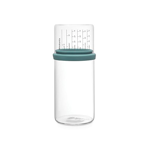 Brabantia - 290244 - Bocal de conservation en verre avec pot doseur, 1 litre, Menthe