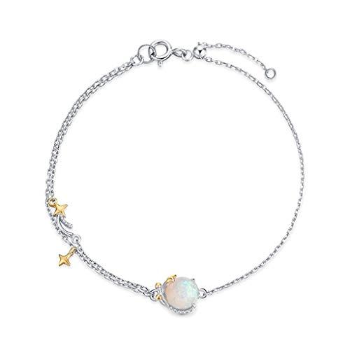hongbanlemp Pulseras para mujeres y mujeres, pulseras planetas, regalo ajustable, plata de ley, joyería de moda, boda, novia, cristal, regalo para amigos, pulsera