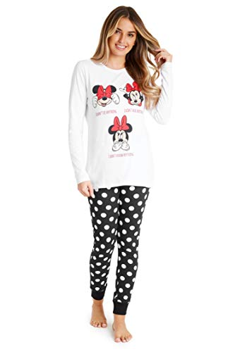Disney Pijamas Mujer, Minnie Mouse Pijama Mujer Invierno, Conjunto 2 Piezas de Algodon Camiseta Manga Larga y Pantalon, Regalos para Mujer y Adolescente (Blanco/Negro, M)