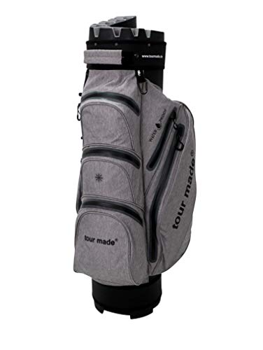 tour-made Waterproof WP14TEX Organizer Trolleybag Golfbag Golftasche wasserdicht (grau-schwarz)