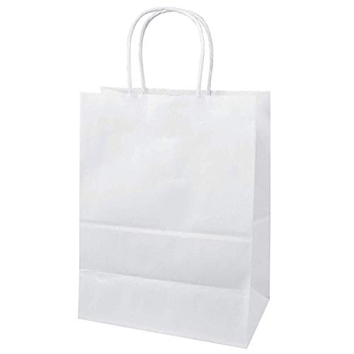 MARENT Pack of 50 White Kraft Paper Gift Bags with Twisted Handles   Ideal for Gifts, Party, Shopping, Packaging, Wedding   18cm x 25cm x 8cm