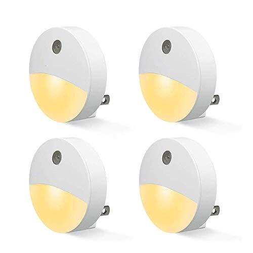 CHENJIA Plug-in de luz de la Noche, luz Nocturna LED Blanco cálido, el anochecer hasta el Amanecer-Sensor, Dormitorio, Cuarto de baño, Cocina, Pasillo, escaleras, energía eficiente, Compacto (Paquete