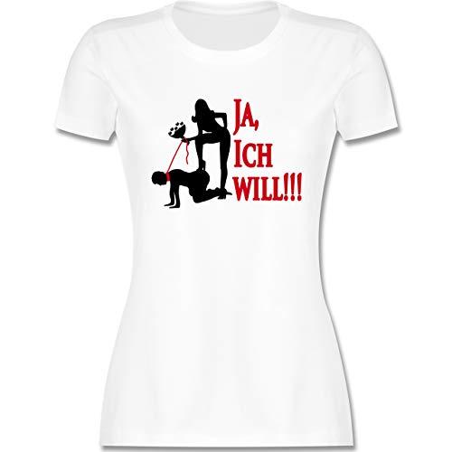 JGA Junggesellenabschied Frauen - Ja ich Will - L - Weiß - Tshirts Domina - L191 - Tailliertes Tshirt für Damen und Frauen T-Shirt