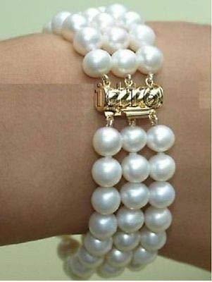 FidgetGear Charming Armband Südseeperle 3 Reihen Weiß AAA 19,5-20,3 cm 8-9 mm 14k Markierung