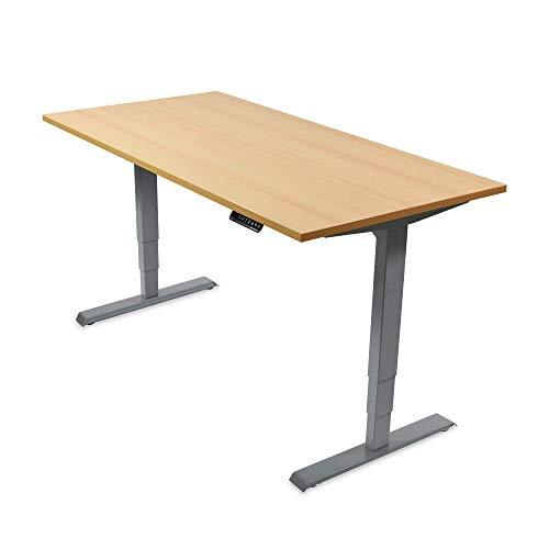 Ergotopia Elektrisch höhenverstellbarer Schreibtisch 5 Jahre Garantie | Ergonomischer Steh-Sitz Tisch mit Memory Funktion | Beugt Rückenschmerzen vor & Macht produktiver (180x80, Buche, G)