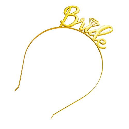 CANDLLY Stirnband Damen, Kopfbedeckung Zubehör Braut einfache Diamant Krone Haarschmuck Stirnbands Hochzeit Zubehörs Kopfschmuck (Gelb,One size)