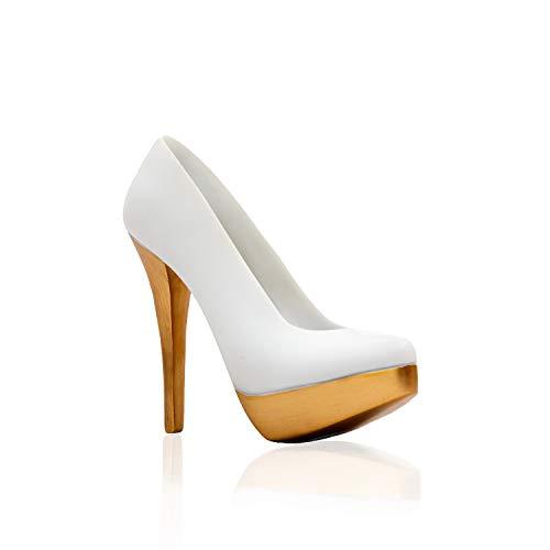 Zelaro Damen High Heel personalisiert – Geschenke für Frauen, Freundin und Mama - Liebesbeweis zur Hochzeit Verlobung Jahrestag und Muttertag - Schuhliebhaber weiß-goldene Award