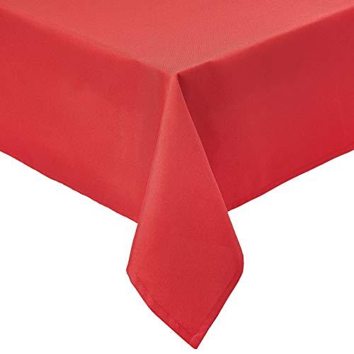 Amazon Basics - Mantel de poliéster para mesa, cuadrado, lavable, 178 x 178cm, rojo, 2 unidades