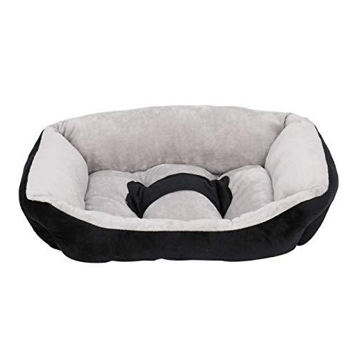 Winne Alfombra lavable para mascotas-pequeño perro cuadrado para mascotas-Adecuado para gatos pequeños y perros/cachorros-lavable a máquina-gris y negro
